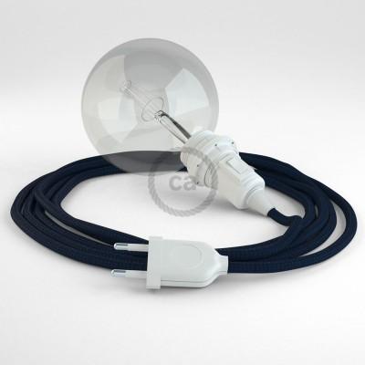 Δημιουργήστε το δικό σας Φωτιστικό Snake για αμπαζούρ με καλώδιο RM20 Μπλε σκούρο Ρεγιόν.