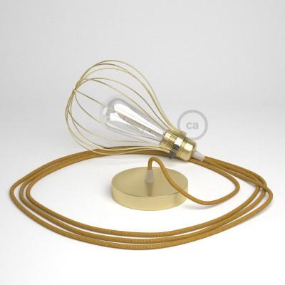 Κρεμαστό φωτιστικό με πλαίσιο Drop - Ορειχάλκινο με RL05 Γυαλιστερό Χρυσό Υφασμάτινο Καλώδιο
