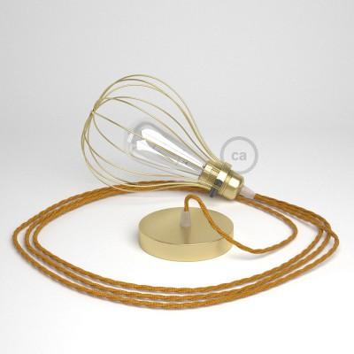 Κρεμαστό φωτιστικό με πλαίσιο Drop - Ορειχάλκινο με TM05 Χρυσό Υφασμάτινο Καλώδιο