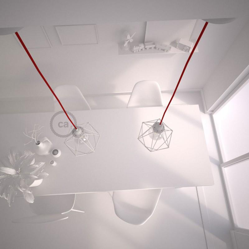 Κρεμαστό Φωτιστικό Διαμάντι Λευκό με RΜ09 Υφασμάτινο καλώδιο Κόκκινο.