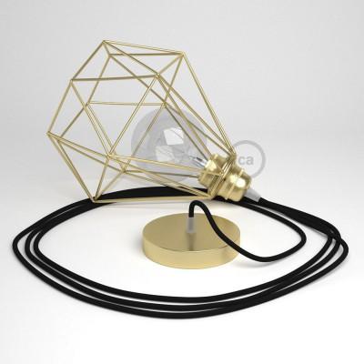 Κρεμαστό Φωτιστικό Διαμάντι Χρυσό με RΜ04 Υφασμάτινο καλώδιο Μαύρο.