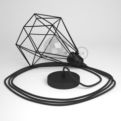 Κρεμαστό Φωτιστικό Διαμάντι μαύρο με RΝ03 Υφασμάτινο καλώδιο Ανθρακί Λινό.