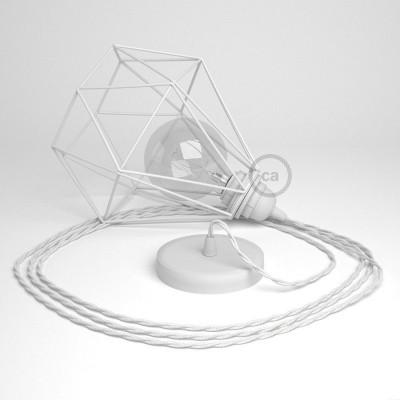 Κρεμαστό Φωτιστικό Διαμάντι Λευκό με TC01 Στριφτό Υφασμάτινο καλώδιο Βαμβάκι Λευκό.