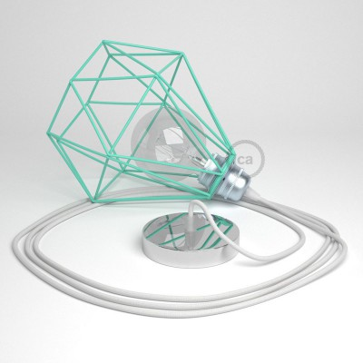 Κρεμαστό Φωτιστικό Διαμάντι Τιρκουάζ με RC01 Yφασμάτινο καλώδιο Βαμβάκι Λευκό.