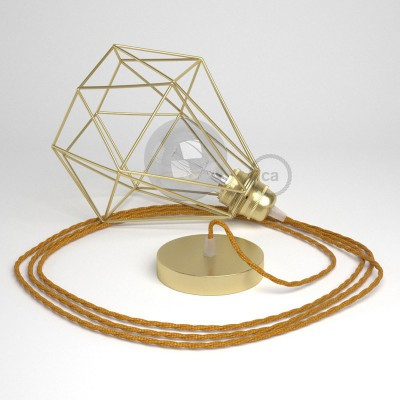 Κρεμαστό Φωτιστικό Διαμάντι Χρυσό με ΤΜ05 Στριφτό Υφασμάτινο καλώδιο Χρυσό.