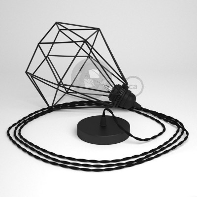 Κρεμαστό Φωτιστικό Διαμάντι - Μαύρο με TM04 Στριφτό Υφασμάτινο καλώδιο Μαύρο