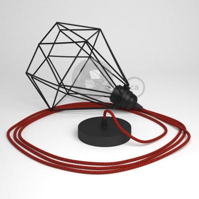 Κρεμαστό Φωτιστικό Διαμάντι - Μαύρο με RT94 Κόκκινο Devil Υφασμάτινο καλώδιο