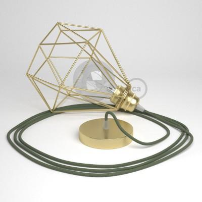 Κρεμαστό Φωτιστικό Διαμάντι - Χρυσό με RC63 Λαδί Υφασμάτινο καλώδιο από βαμβάκι