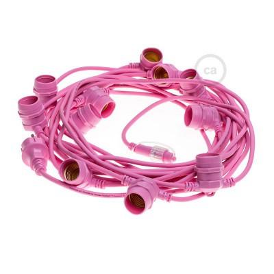 Ροζ γιρλάντα εξωτερικού χώρου με 12,5 m στρογγυλό καλώδιο και 11 ντουί Ε27, συνδεδεμένα μέχρι και 60 m, με πρίζα σούκο