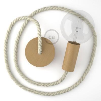 Ξύλινο Κρεμαστό Φωτιστικό με ναυτικό σχοινί XL 16mm σε Λευκό Βαμβάκι, Made in Italy.