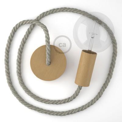 Ξύλινο Κρεμαστό Φωτιστικό με ναυτικό σχοινί τριχιά XL 16mm σε γκρι λινό, Made in Italy.