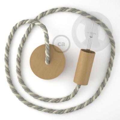 Ξύλινο Κρεμαστό Φωτιστικό με ναυτικό σχοινί τριχιά XL 16mm σε γκρι λινό και φυσική Τριχιά, Made in Italy.