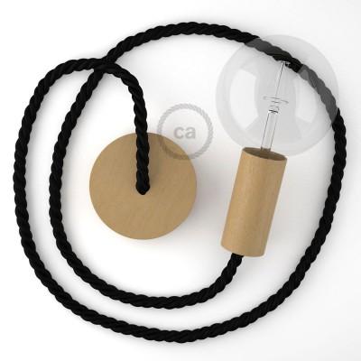 Ξύλινο Κρεμαστό Φωτιστικό με ναυτικό σχοινί τριχιά XL 16mm σε μαύρο Βαμβάκι, Made in Italy.