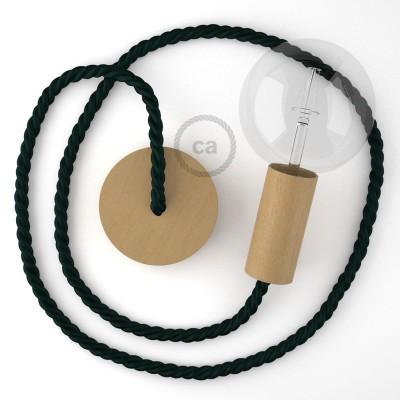 Ξύλινο Κρεμαστό Φωτιστικό με ναυτικό σχοινί τριχιά XL 16mm σε Σκούρο Πράσινο Βαμβάκι, Made in Italy.