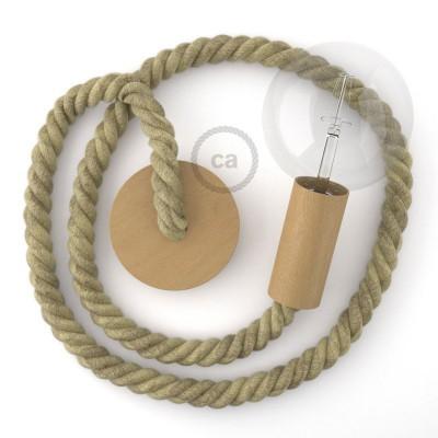 Ξύλινο Κρεμαστό Φωτιστικό με ναυτικό σχοινί Φυσική τριχιά 2XL 24mm, Made in Italy.
