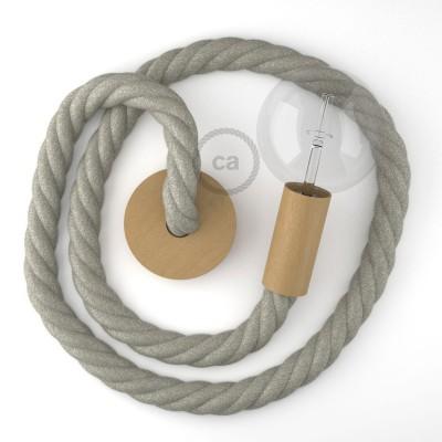 Ξύλινο Κρεμαστό Φωτιστικό με ναυτικό σχοινί 3XL 30mm σε Φυσικό Γκρί , Made in Italy.