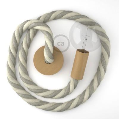 Ξύλινο Κρεμαστό Φωτιστικό με ναυτικό σχοινί 3XL 30mm σε Φυσικό Γκρί με Λευκό Βαμβάκι , Made in Italy.