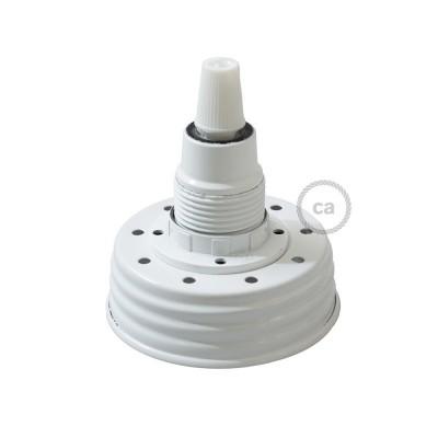 Σετ για φωτιστικό βάζο κρεμαστό. Καπάκι λευκό με ντουί Ε14 και λευκό κωνικό στήριγμα για τοποθέτηση σε γυάλινο βάζο