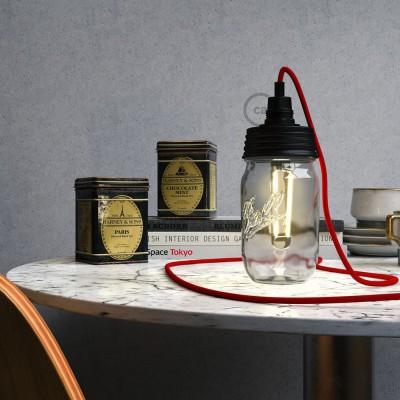 Σετ για φωτιστικό βάζο κρεμαστό. Καπάκι μαύρο με ντουί Ε14 και μαύρο πλακέ στήριγμα για τοποθέτηση σε γυάλινο βάζο