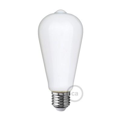 LED Λαμπτήρας Οπάλ Λευκό - Αχλάδι Edison ST64 - 6W E27 Dimmable 2700K