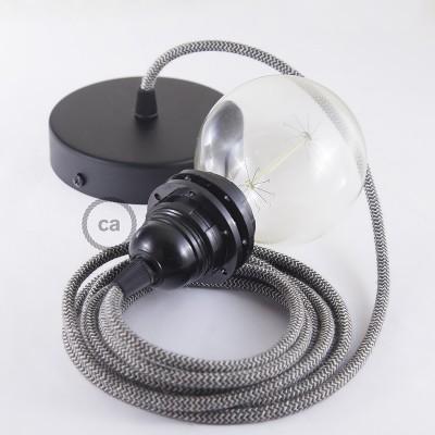 Κρεμαστό Φωτιστικό, Κρεμαστή Λάμπα με Ανθρακί &Μπεζ Ψαροκόκκαλο Υφασμάτινο Καλώδιο RD74