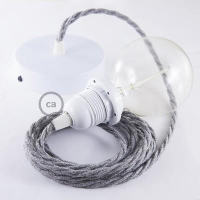 Κρεμαστό Φωτιστικό, Κρεμαστή Λάμπα με Στριφτό Γκρί Λινό Υφασμάτινο Καλώδιο Βαμβάκι TN02