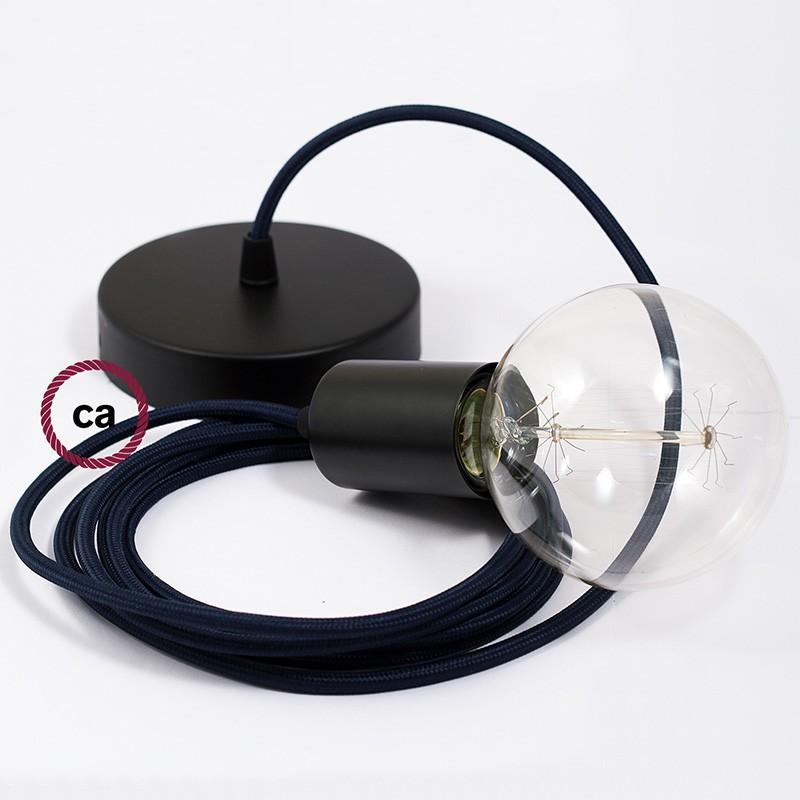 Κρεμαστό Φωτιστικό, κρεμαστή λάμπα με Σκούρο Μπλέ Υφασμάτινο Καλώδιο RM20