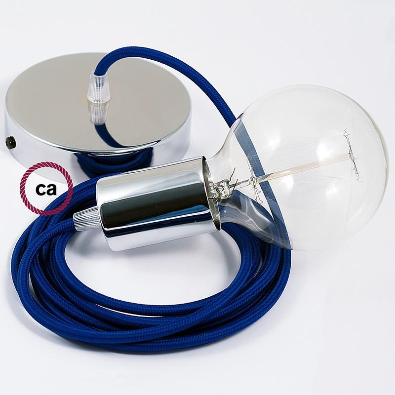 Κρεμαστό Φωτιστικό, κρεμαστή λάμπα με Μπλε Θαλασσί Υφασμάτινο Καλώδιο RM12