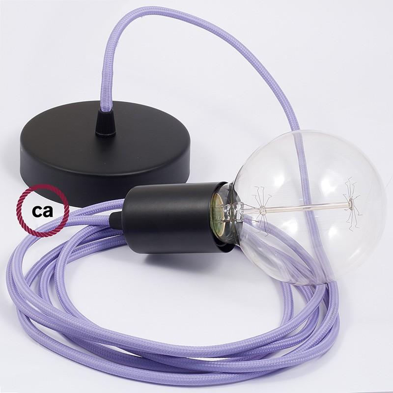 Κρεμαστό Φωτιστικό, κρεμαστή λάμπα με Λιλά Υφασμάτινο Καλώδιο RM07