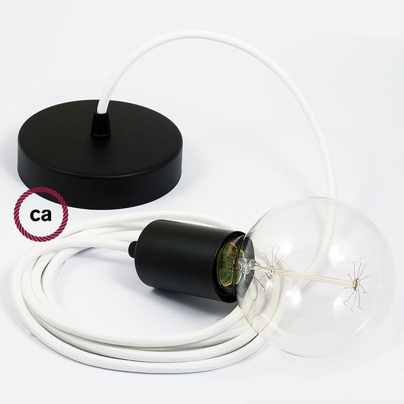 Κρεμαστό Φωτιστικό, κρεμαστή λάμπα με Λευκό Υφασμάτινο Καλώδιο RM01