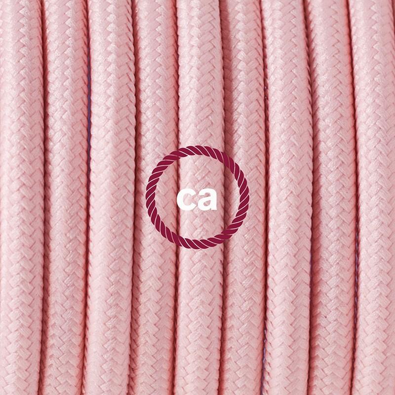Κρεμαστό Φωτιστικό, κρεμαστή λάμπα με Ανοιχτό Ροζ Υφασμάτινο Καλώδιο RM16