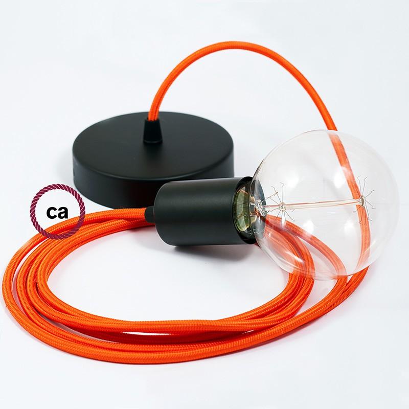 Κρεμαστό Φωτιστικό, κρεμαστή λάμπα με Πορτοκαλί Υφασμάτινο Καλώδιο RM15
