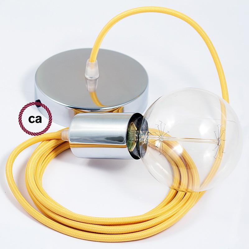 Κρεμαστό Φωτιστικό, κρεμαστή λάμπα με Κίτρινο Υφασμάτινο Καλώδιο RM10