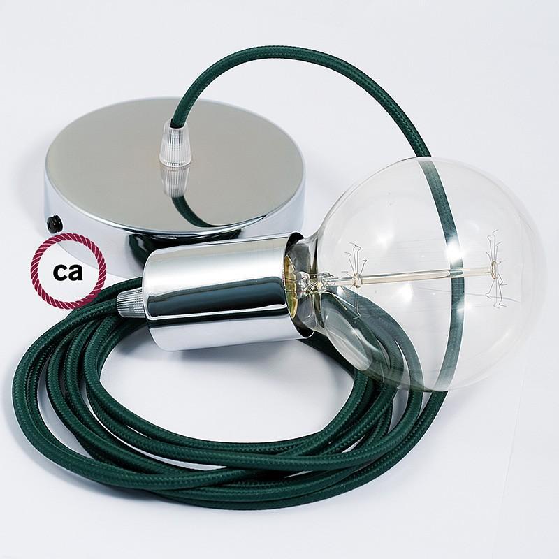 Κρεμαστό Φωτιστικό, κρεμαστή λάμπα με Σκούρο Πράσινο Υφασμάτινο Καλώδιο RM21