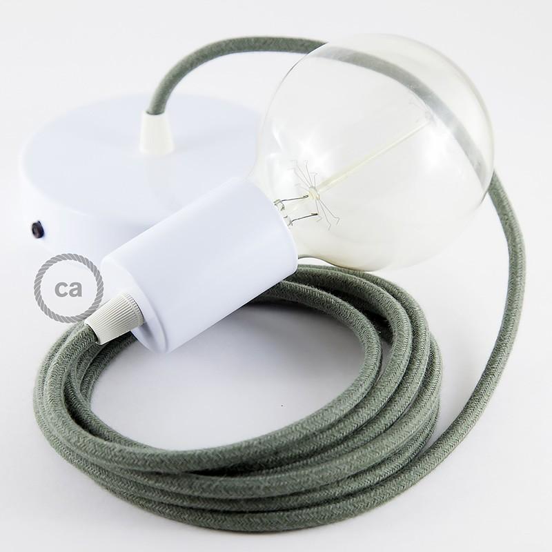 Κρεμαστό Φωτιστικό, κρεμαστή λάμπα με Λαδί Υφασμάτινο Καλώδιο από Βαμβάκι RC63