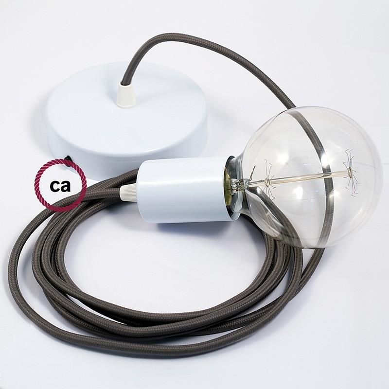 Κρεμαστό Φωτιστικό, κρεμαστή λάμπα με Γκρί Υφασμάτινο Καλώδιο RM03