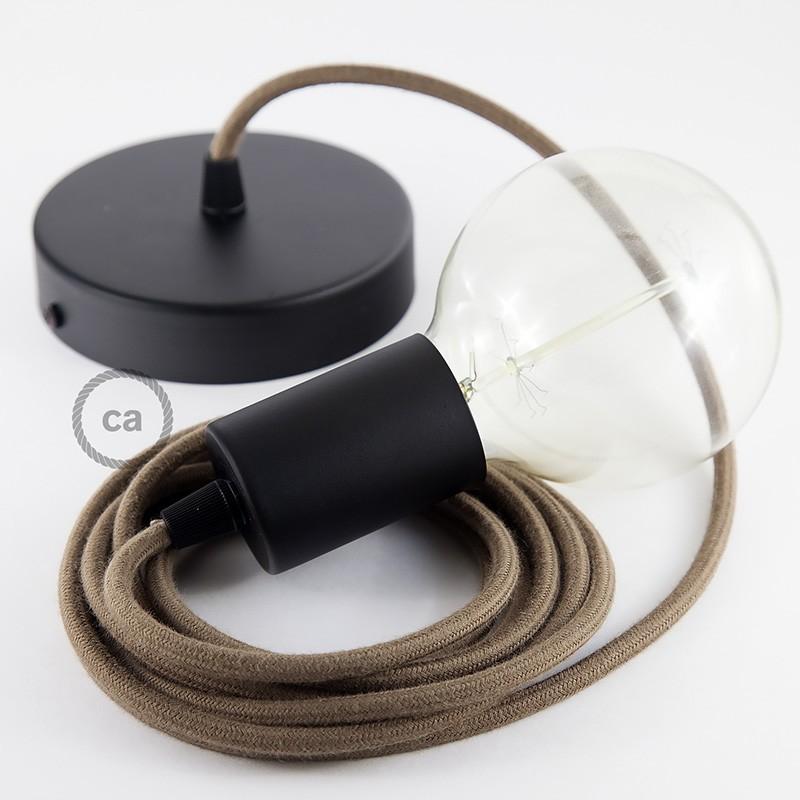 Κρεμαστό Φωτιστικό, κρεμαστή λάμπα με Καφέ Υφασμάτινο Καλώδιο Βαμβάκι RC13