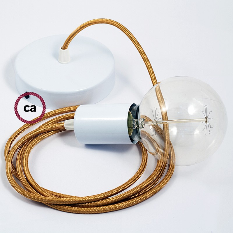 Κρεμαστό Φωτιστικό, κρεμαστή λάμπα με Χρυσό Υφασμάτινο Καλώδιο RM05