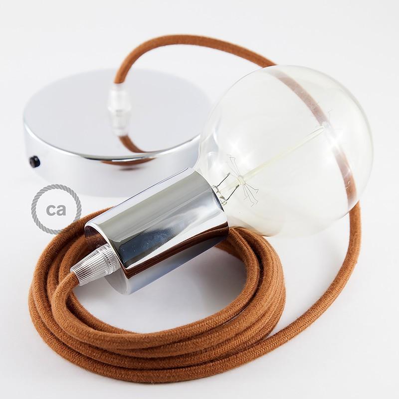 Κρεμαστό Φωτιστικό, κρεμαστή λάμπα με Φουντουκί Υφασμάτινο Καλώδιο Βαμβάκι RC23