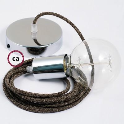 Κρεμαστό Φωτιστικό, κρεμαστή λάμπα με Καφέ Φυσικό Λινό Υφασμάτινο Καλώδιο RN04