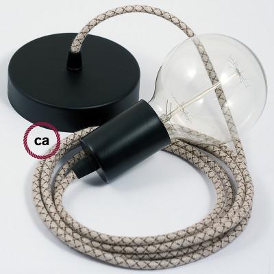 Κρεμαστό Φωτιστικό, Κρεμαστή Λάμπα με Καφέ και Μπεζ Σταυρωτό Υφασμάτινο Καλώδιο RD63