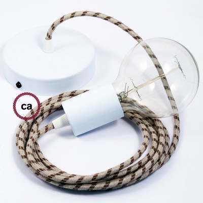 Κρεμαστό Φωτιστικό, Κρεμαστή Λάμπα με Καφέ Ρίγες Υφασμάτινο Καλώδιο RD53