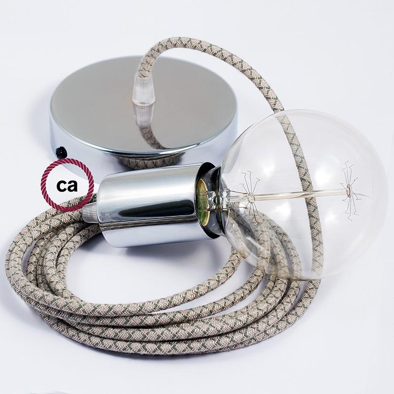 Κρεμαστό Φωτιστικό, Κρεμαστή Λάμπα με Λαδί&Μπεζ Σταυρωτό Υφασμάτινο Καλώδιο RD62