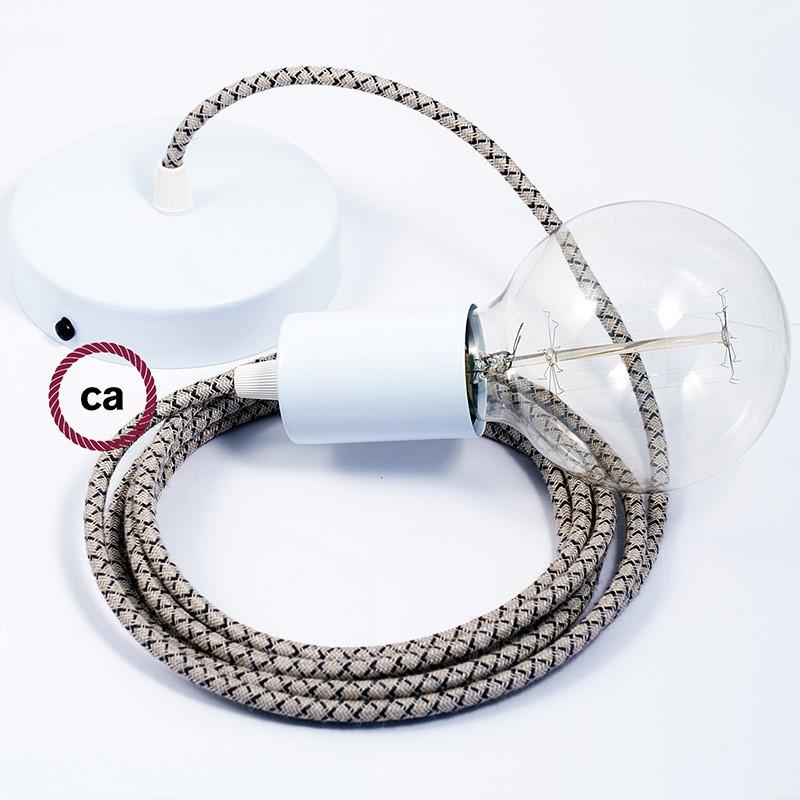 Κρεμαστό Φωτιστικό, Κρεμαστή Λάμπα με Ανθρακί&Μπεζ Σταυρωτό Υφασμάτινο Καλώδιο RD64