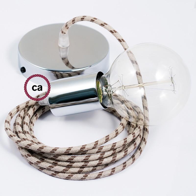 Κρεμαστό Φωτιστικό, Κρεμαστή Λάμπα με Ανθρακί&Μπεζ Ρίγες Υφασμάτινο Καλώδιο RD54