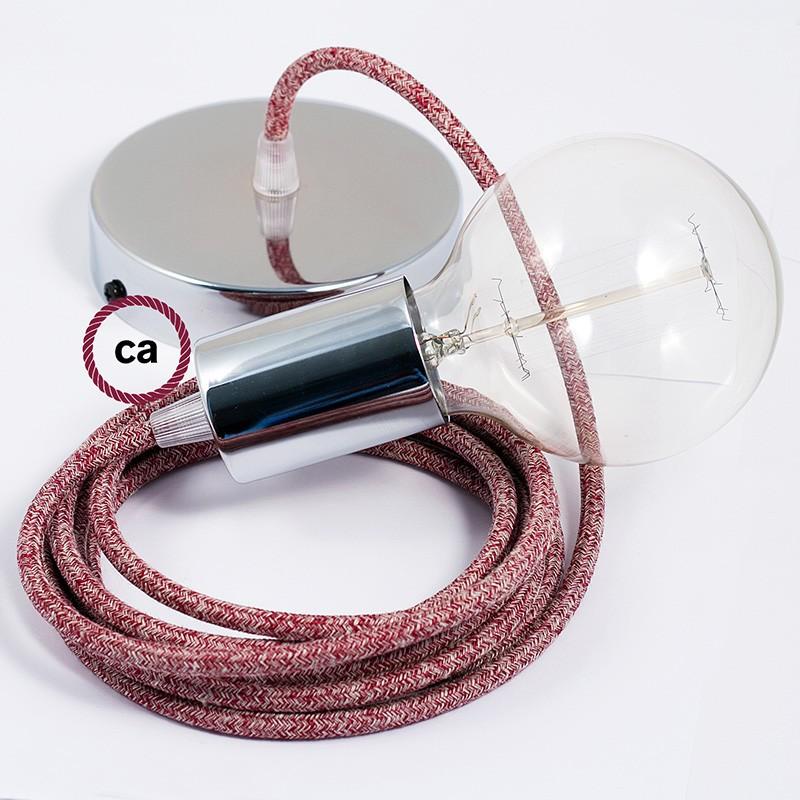 Κρεμαστό Φωτιστικό, Κρεμαστή Λάμπα με Κόκκινο Φυσικό Λινό Γυαλιστερό Υφασμάτινο Καλώδιο RS83