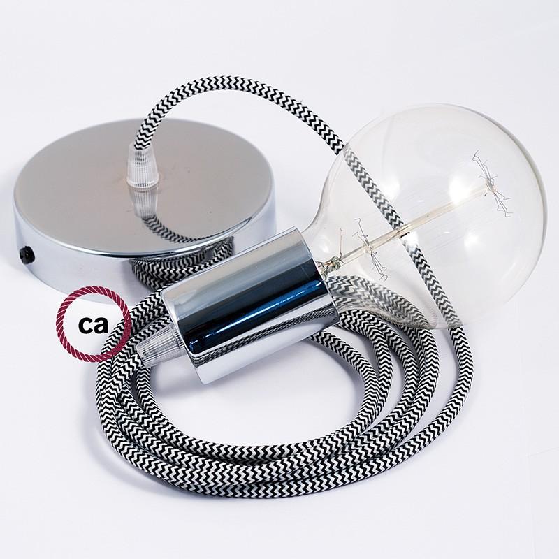 Κρεμαστό Φωτιστικό, Κρεμαστή Λάμπα με Ψαροκόκκαλο Άσπρο-Μαύρο Υφασμάτινο Καλώδιο RZ04