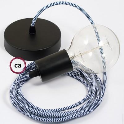Κρεμασ*τό Φωτιστικό, Κρεμαστή Λάμπα με Ψαροκόκκαλο Μπλε Υφασμάτινο Καλώδιο RZ12