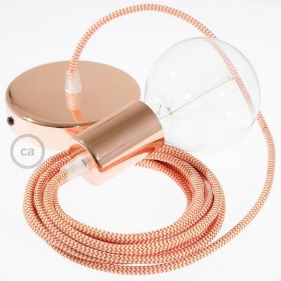 Κρεμαστό Φωτιστικό, Κρεμαστή Λάμπα με Ψαροκόκκαλο Πορτοκαλί Υφασμάτινο Καλώδιο RZ15