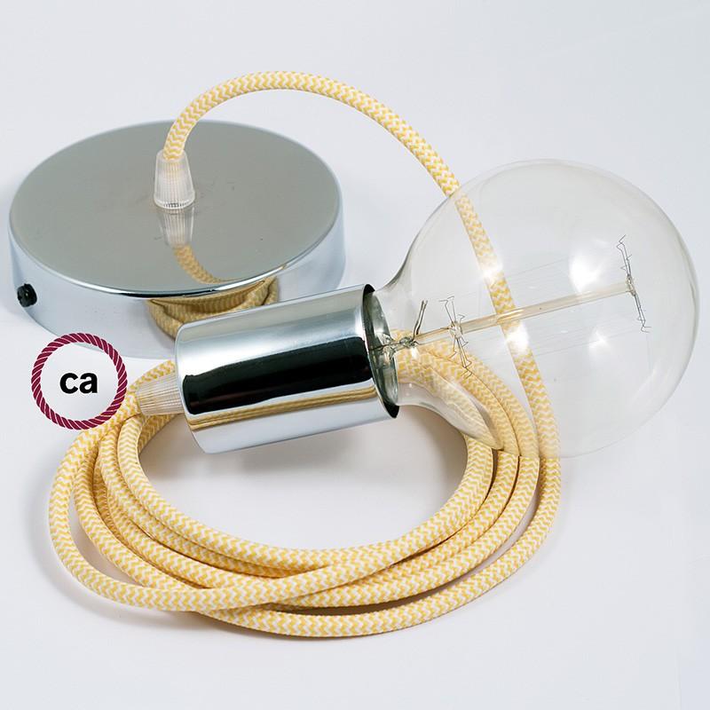 Κρεμαστό Φωτιστικό, Κρεμαστή Λάμπα με Ψαροκόκκαλο Κίτρινο Υφασμάτινο Καλώδιο RZ10
